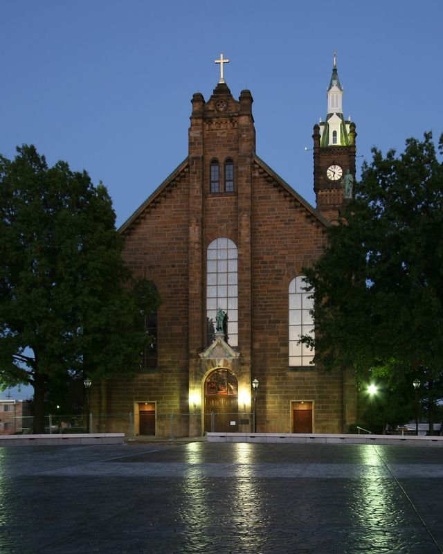 Week ending Oct 2, 2005.  An evening photo of St. Joseph Church from the new pavilion.