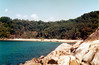 1984 Sep - Beach on an Island In The Coral Sea.<br /> This was just around the headland from my camp spot on the rocks. I wasn't allowed to go there.