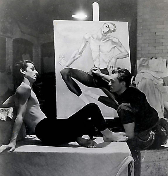 Irv at right, while in art school. Photographer unknown.