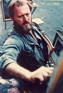 Painting, perhaps at the Village Art Show, early 1960s. Photographer unknown.