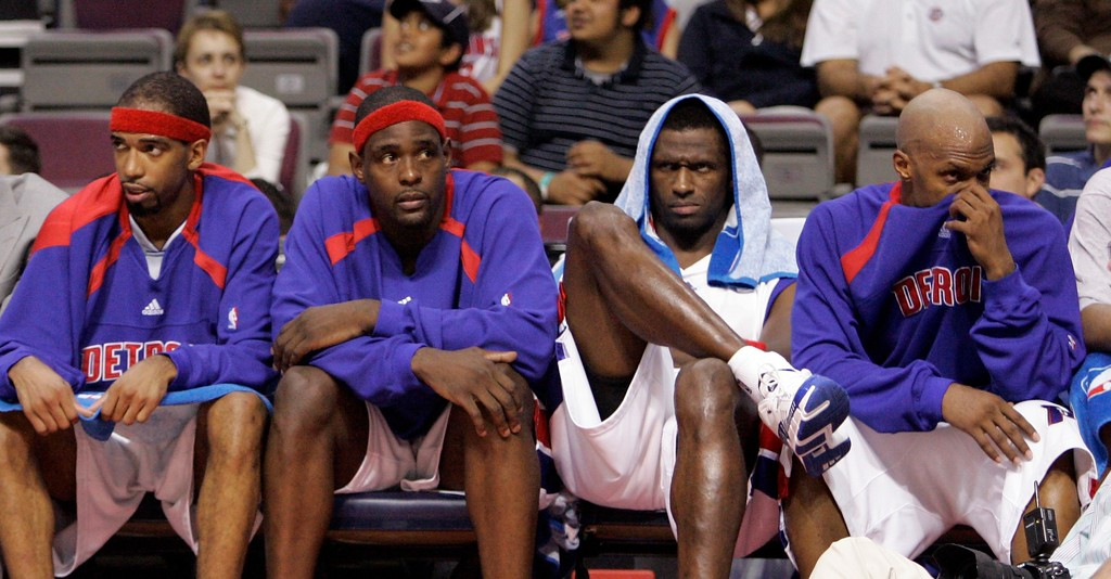 . Detroit Pistons\', from left, Richard Hamilton, Chris Webber, Antonio McDyess and Chauncey Billups sit on the bench during the fourth quarter of an NBA Eastern Conference semifinal playoff basketball game against the Chicago Bulls at the Palace of Auburn Hills, Mich., Tuesday, May 15, 2007. The Bulls defeated the Pistons 108-92. (AP Photo/Carlos Osorio)