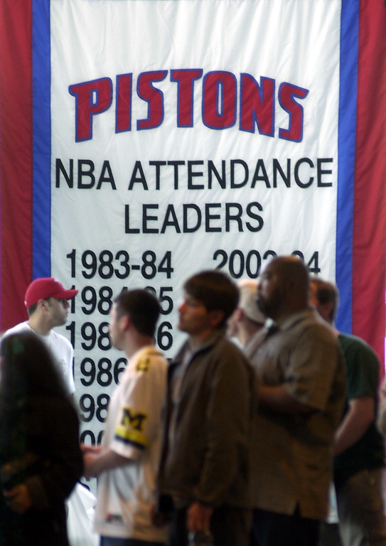 . Detroit Pistons fans wait to purchase NBA Finals tickets inside the Palace in Auburn Hills, Mich., Thursday, June 3, 2004. The Pistons will play the Los Angeles Lakers beginning on Sunday, June 6 in Los Angeles. (AP Photo/Carlos Osorio)