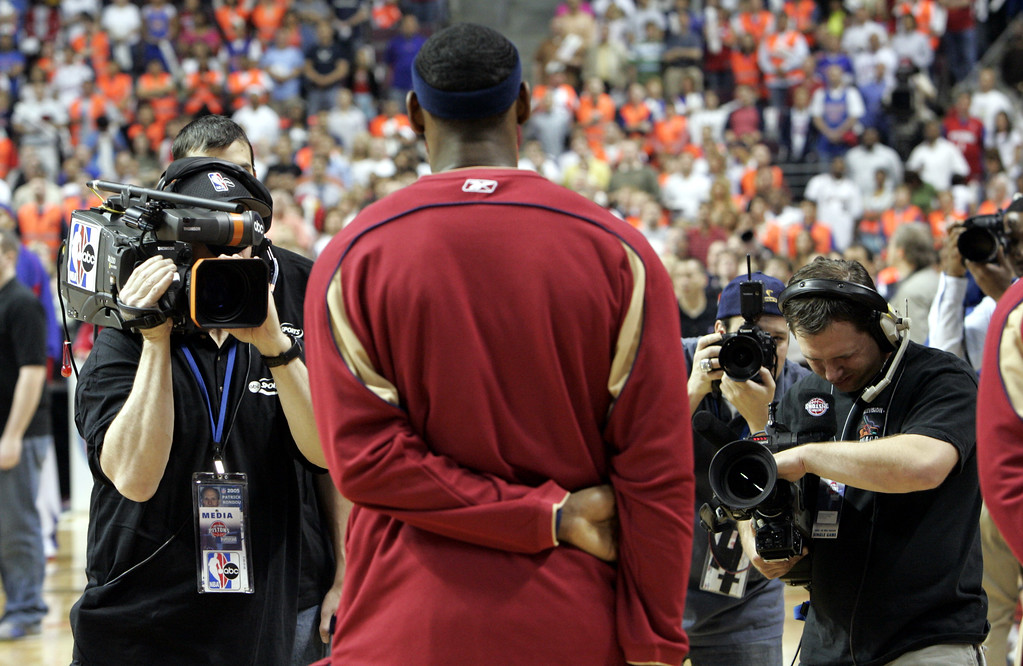 . Cleveland Cavaliers forward LeBron James is photographed before the start of the basketball playoff game against the Detroit Pistons at the Palace in Auburn Hills, Mich., Sunday, May 7, 2006.  (AP Photo/Paul Sancya)