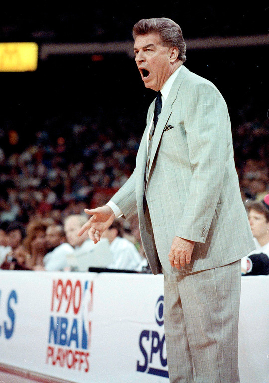 . Detroit Pistons coach Chuck Daly voices his disapproval during Saturday, May 26, 1990  Game 3 of the Eastern Conference finals with the Chicago Bulls. The Bulls beat the Pistons 107-102, but the Pistons still lead the best-of-savers series 2-1. (AP Photo/Jim Mone)