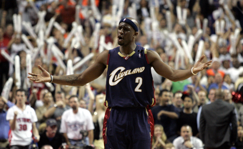 . Cleveland Cavaliers guard Flip Murray looks to the referees for a call during Game 5 of an NBA basketball playoffs second-round series against the Detroit Pistons at the Palace in Auburn Hills, Mich., Wednesday, May 17, 2006. The Cavaliers defeated the Pistons 86-84.  (AP Photo/Duane Burleson)