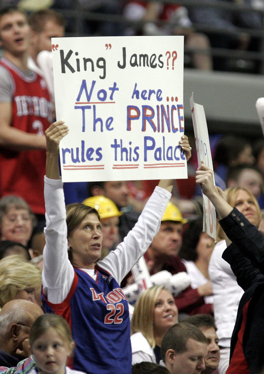 . Detroit Pistons fans support Pistons forward Tayshaun Prince during Game 2 of the team\'s NBA basketball playoffs series against the Cleveland Cavaliers at the Palace in Auburn Hills, Mich., Tuesday, May 9, 2006.  (AP Photo/Duane Burleson)