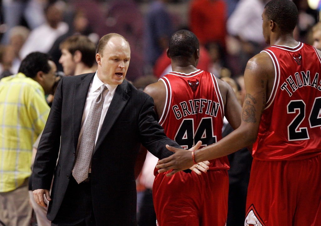 . Chicago Bulls head coach Scott Skiles congratulates forward Adrien Griffin (44) and forward Tyrus Thomas (24) after the Bulls defeated the Detroit Pistons 108-92 in an Eastern Conference semifinal NBA playoff basketball game at the Palace of Auburn Hills, Mich., Tuesday, May 15, 2007. (AP Photo/Carlos Osorio)