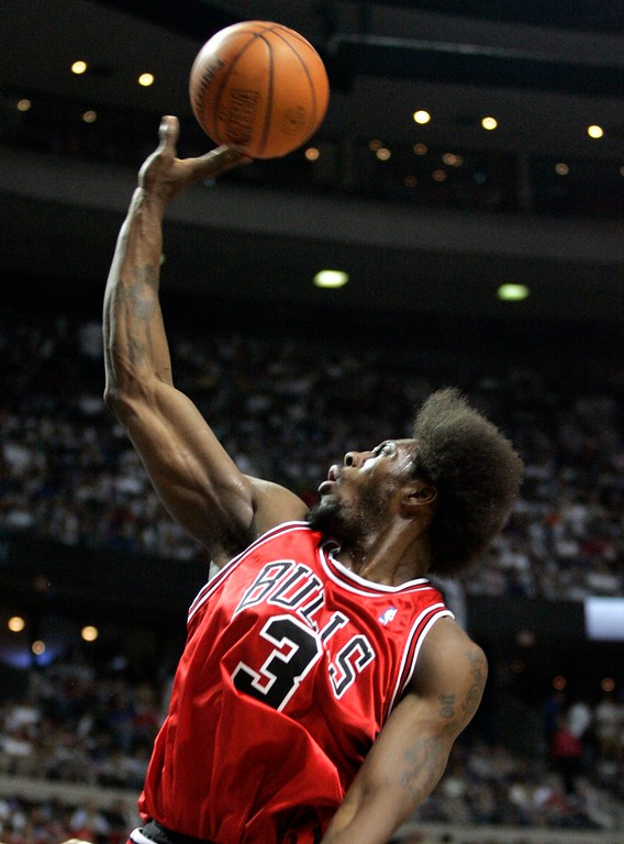 . Chicago Bulls center Ben Wallace (3) shoots the basketball during the first quarter of an NBA Eastern Conference semifinal  playoff basketball game against the Detroit Pistons at the Palace of Auburn Hills, Mich., Tuesday, May 15, 2007. (AP Photo/Duane Burleson)