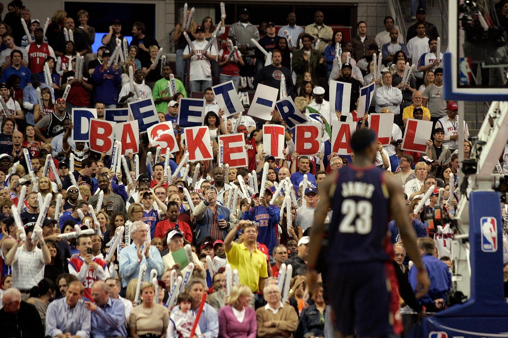 . Detroit Pistons fans hold up signs during the first quarter of an NBA Eastern Conference final basketball game at the Palace of Auburn Hills, Mich., Monday, May 21, 2007. (AP Photo/Duane Burleson)