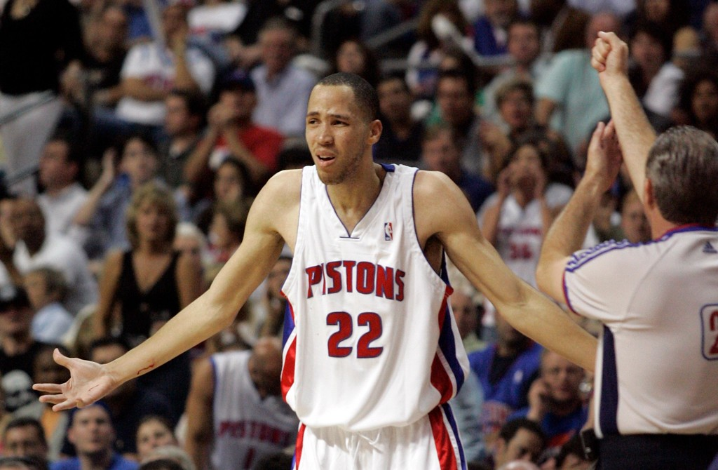 . Detroit Pistons forward Tayshaun Prince (22) shows his frustrations with referee Bob Delaney during the fourth quarter of an NBA Eastern Conference final basketball game  against the Cleveland Cavaliers at the Palace of Auburn Hills, Mich., Thursday, May 31, 2007.  Prince had 10 points in the Pistons 109-107 double-overtime loss to the Cavaliers. (AP Photo/Duane Burleson)