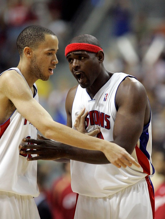 . Detroit Pistons center Chris Webber, right, confers with teammate forward Tayshaun Prince during the third quarter of an NBA Eastern Conference final basketball game against the Cleveland Cavaliers at the Palace of Auburn Hills, Mich., Thursday, May 31, 2007. (AP Photo/Duane Burleson)