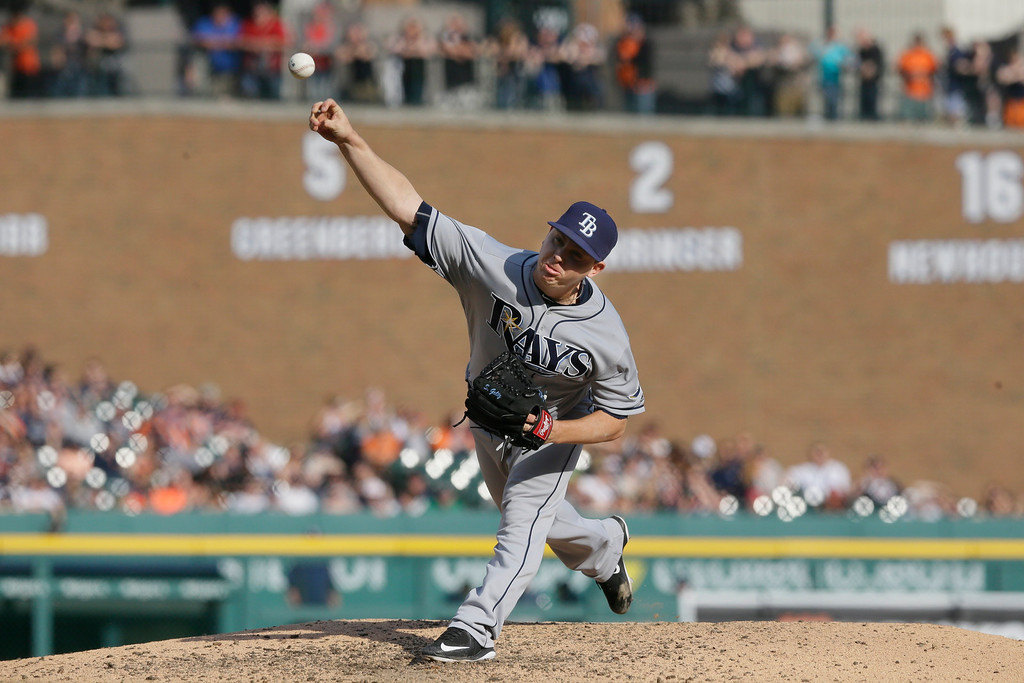. Tampa Bay Rays relief pitcher Steven Geltz throws during the seventh inning of a baseball game against the Detroit Tigers, Saturday, May 21, 2016, in Detroit. (AP Photo/Carlos Osorio)