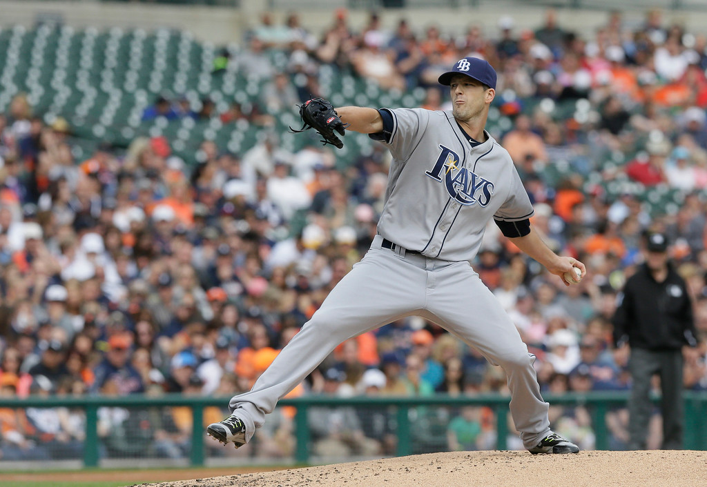 . Tampa Bay Rays starting pitcher Drew Smyly throws during the second inning of a baseball game against the Detroit Tigers, Saturday, May 21, 2016, in Detroit. (AP Photo/Carlos Osorio)