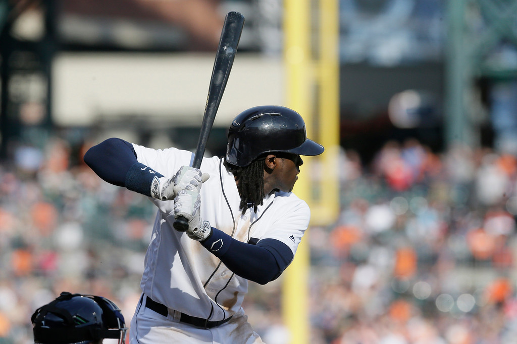 . Detroit Tigers\' Cameron Maybin bats during the seventh inning of a baseball game against the Tampa Bay Rays, Saturday, May 21, 2016, in Detroit. (AP Photo/Carlos Osorio)