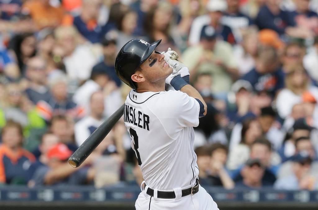 . Detroit Tigers\' an Kinsler pops up during the third inning of a baseball game against the Tampa Bay Rays, Saturday, May 21, 2016, in Detroit. (AP Photo/Carlos Osorio)