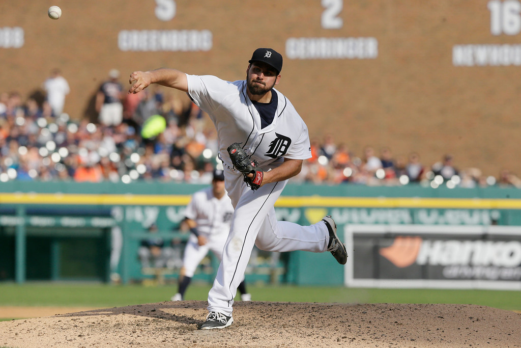 . Detroit Tigers starting pitcher Michael Fulmer throws during the seventh inning of a baseball game against the Tampa Bay Rays, Saturday, May 21, 2016, in Detroit. (AP Photo/Carlos Osorio)