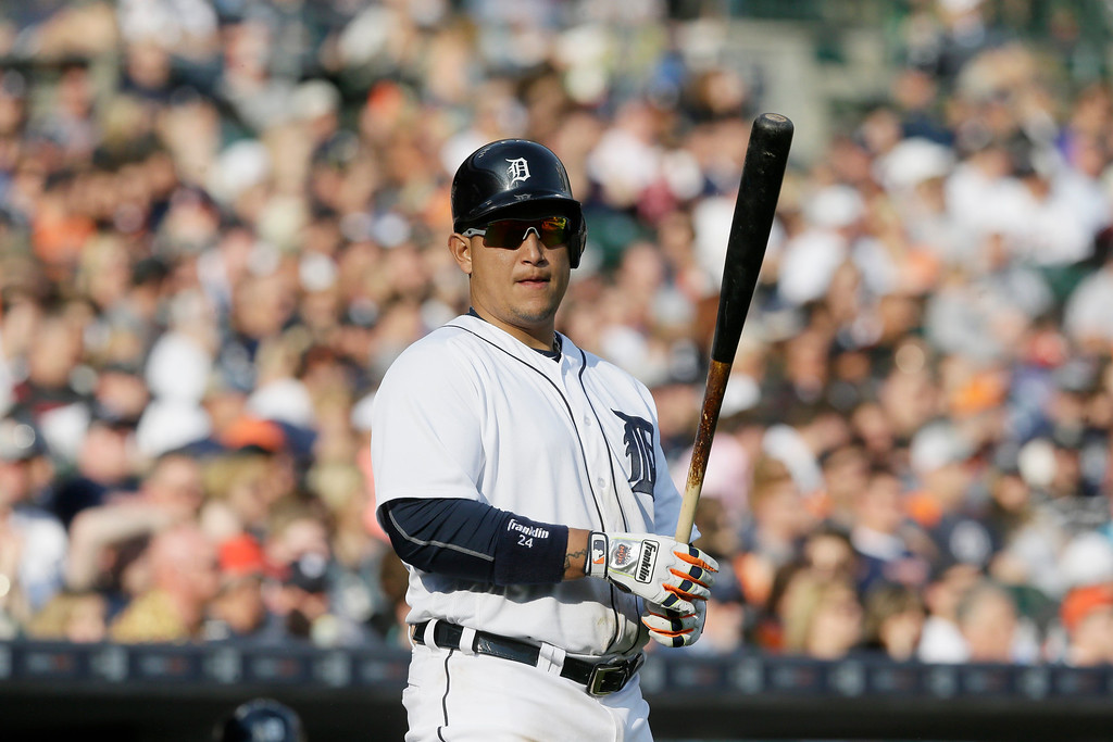 . Detroit Tigers\' Miguel Cabrera prepares to bat during the seventh inning of a baseball game against the Tampa Bay Rays, Saturday, May 21, 2016, in Detroit. (AP Photo/Carlos Osorio)