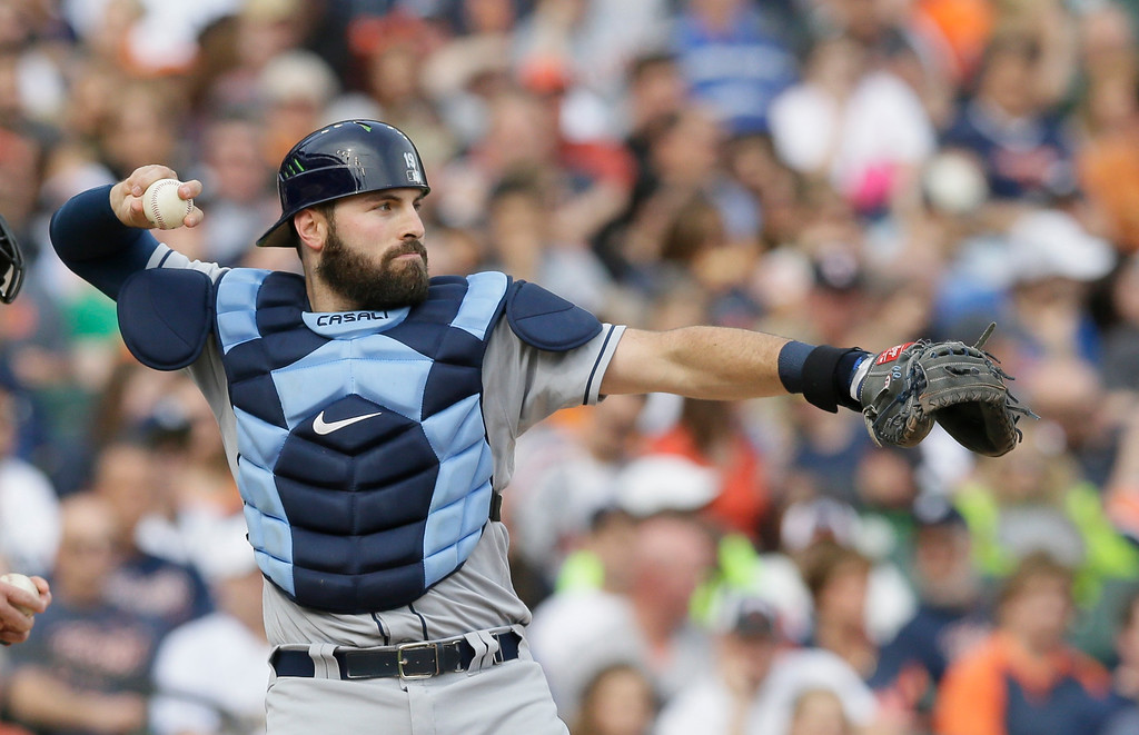. Tampa Bay Rays catcher Curt Casali throws back to pitcher Drew Smyly during the third inning of a baseball game against the Detroit Tigers, Saturday, May 21, 2016, in Detroit. (AP Photo/Carlos Osorio)