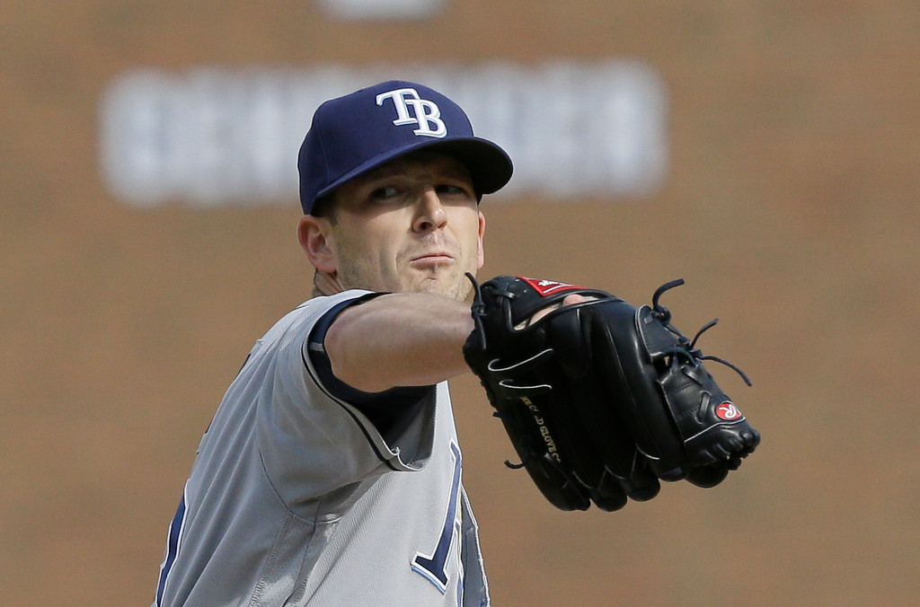 . Tampa Bay Rays starting pitcher Drew Smyly throws during the fifth inning of a baseball game against the Detroit Tigers, Saturday, May 21, 2016, in Detroit. (AP Photo/Carlos Osorio)