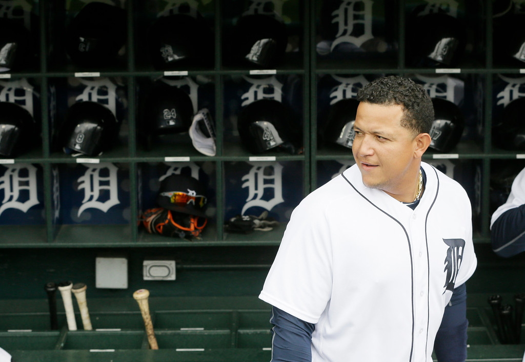 . Detroit Tigers first baseman Miguel Cabrera walks in the dugout during the first inning of a baseball game against the Tampa Bay Rays, Saturday, May 21, 2016, in Detroit. (AP Photo/Carlos Osorio)
