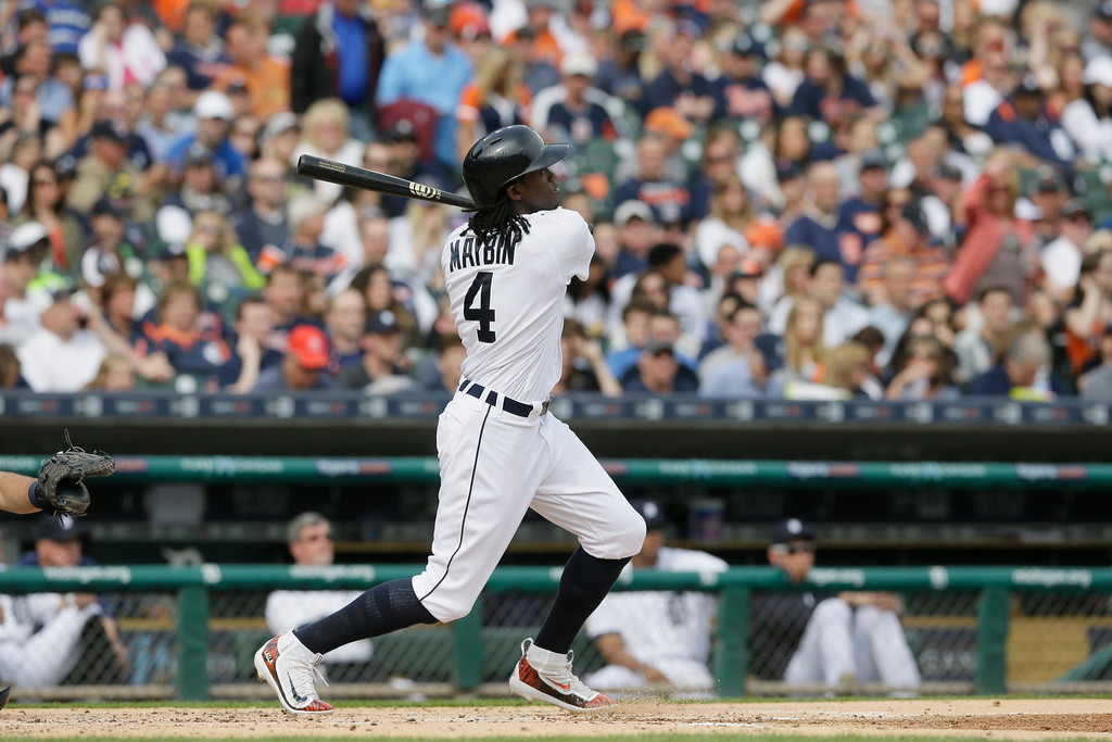 . Detroit Tigers\' Cameron Maybin watches his solo home run during the third inning of a baseball game against the Tampa Bay Rays, Saturday, May 21, 2016, in Detroit. (AP Photo/Carlos Osorio)