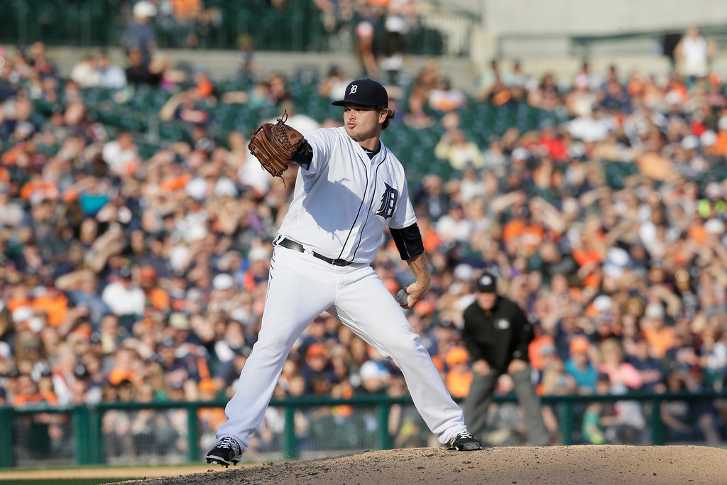 . Detroit Tigers relief pitcher Justin Wilson throws during the eighth inning of a baseball game against the Tampa Bay Rays, Saturday, May 21, 2016, in Detroit. (AP Photo/Carlos Osorio)