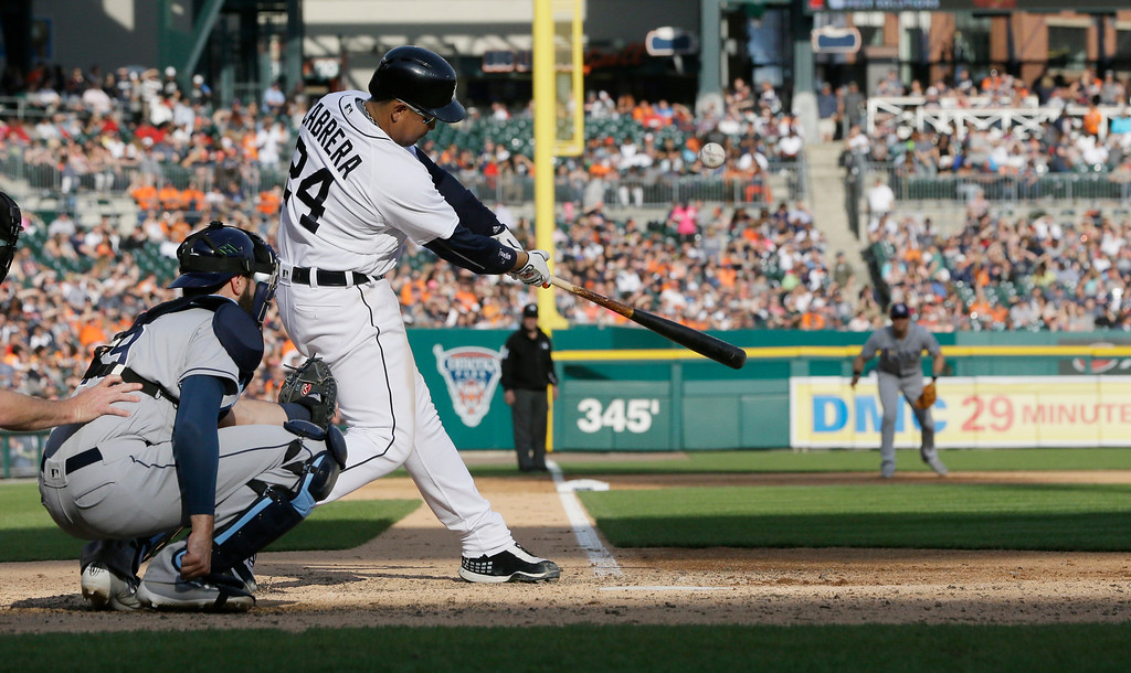 . Detroit Tigers\' Miguel Cabrera bats during the seventh inning of a baseball game aTampa Bay Rays, Saturday, May 21, 2016, in Detroit. (AP Photo/Carlos Osorio)