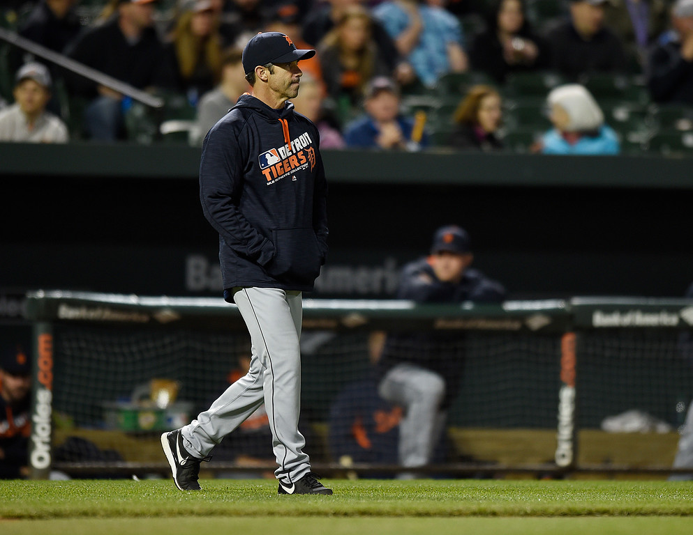 . Detroit Tigers manager Brad Ausmus walks onto the field for a pitching change during the eighth inning against the Baltimore Orioles in a baseball game, Saturday, May 14, 2016, in Baltimore. The Orioles won 9-3.(AP Photo/Gail Burton)