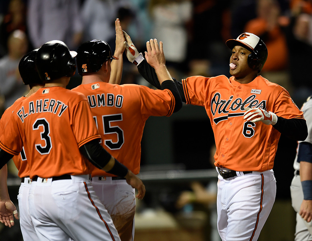 . Baltimore Orioles\' Jonathan Schoop, left is greeted by teammates after hitting a grand slam against the Detroit Tigers during the eighth inning of a baseball game, Saturday, May 14, 2016, in Baltimore. The Orioles won 9-3. (AP Photo/Gail Burton)