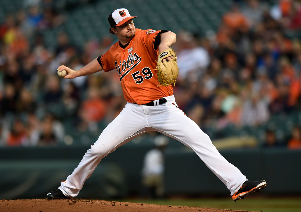 . Baltimore Orioles pitcher Mike Wright delivers against the Detroit Tigers during the first inning of a baseball game Saturday, May 14, 2016, in Baltimore. (AP Photo/Gail Burton)