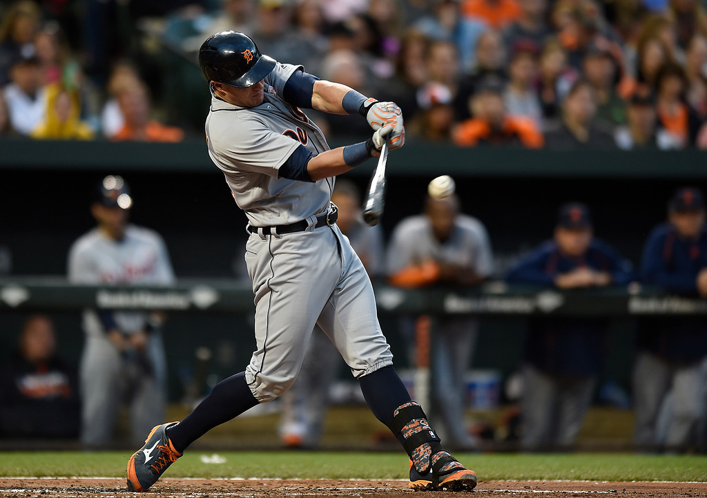. Detroit Tigers\' James McCann connects for a single against the Baltimore Orioles during the third inning of a baseball game Saturday, May 14, 2016, in Baltimore. (AP Photo/Gail Burton)