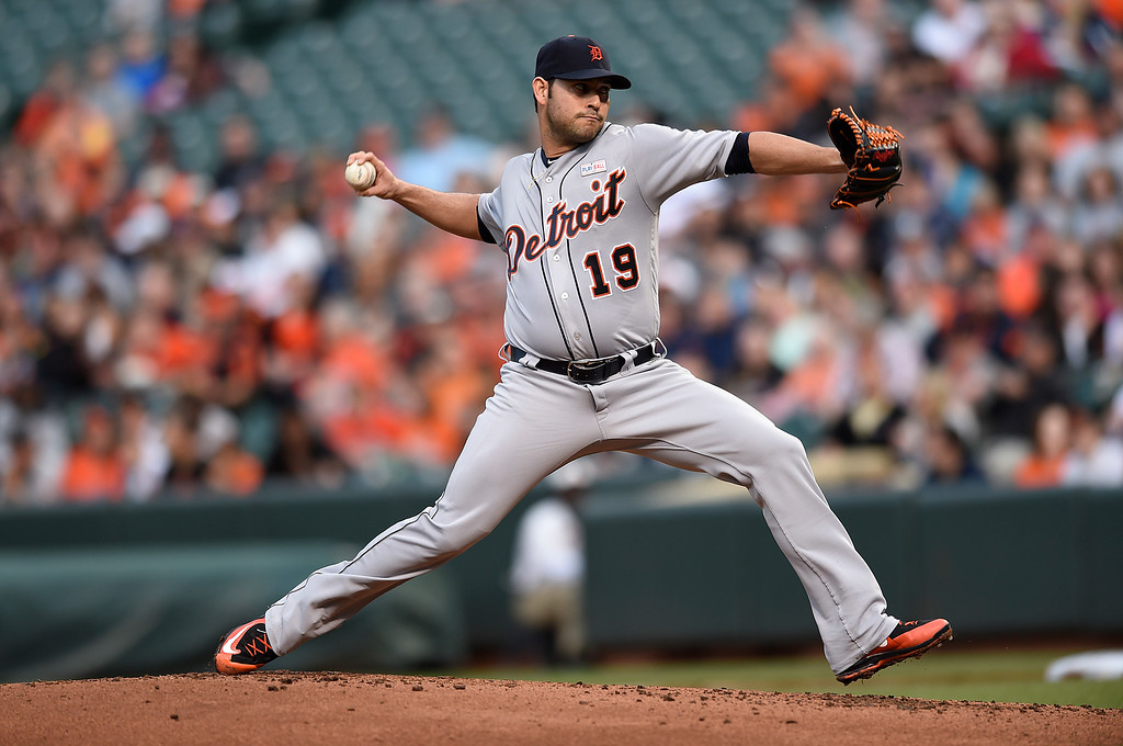 . Detroit Tigers pitcher Anibal Sanchez delivers against the Baltimore Orioles during the first inning of a baseball game Saturday, May 14, 2016, in Baltimore. (AP Photo/Gail Burton)