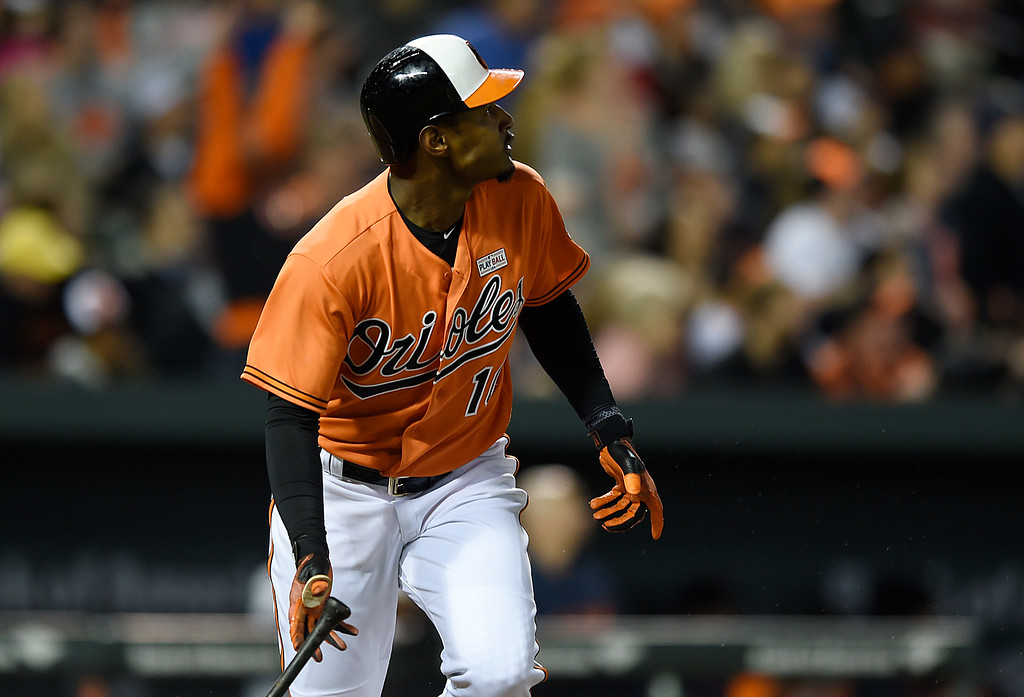 . Baltimore Orioles\' Adam Jones watches his solo home run against the Detroit Tigers during the eighth inning of a baseball game Saturday, May 14, 2016, in Baltimore. The Orioles won 9-3. (AP Photo/Gail Burton)