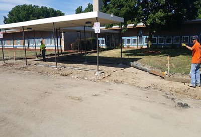 Renovations to Alcott Elementary School included new parking lot pavement and new sidewalks. Photo provided by the School District of the City of Pontiac.