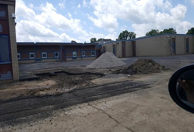 The parking lot of Alcott Elementary School in Pontiac before the sinking fund renovations. Photo provided by the School District of the City of Pontiac.