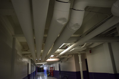 Newly repaired pipes at Pontiac High School. Photo: Anthony Spak/For The Oakland Press.