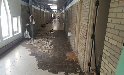 Old broken tiles were removed from Alcott Elementary School and replaced with newer tiles as part of the sinking fund renovations from the summer of 2016. Photo provided by the School District of the City of Pontiac.