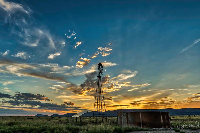 Sunset at the Old Windmill, Marathon, Texas