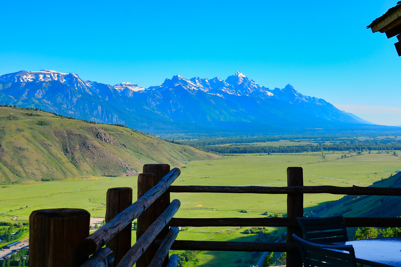 The morning view from the deck of the Granary - Jackson , Wyoming