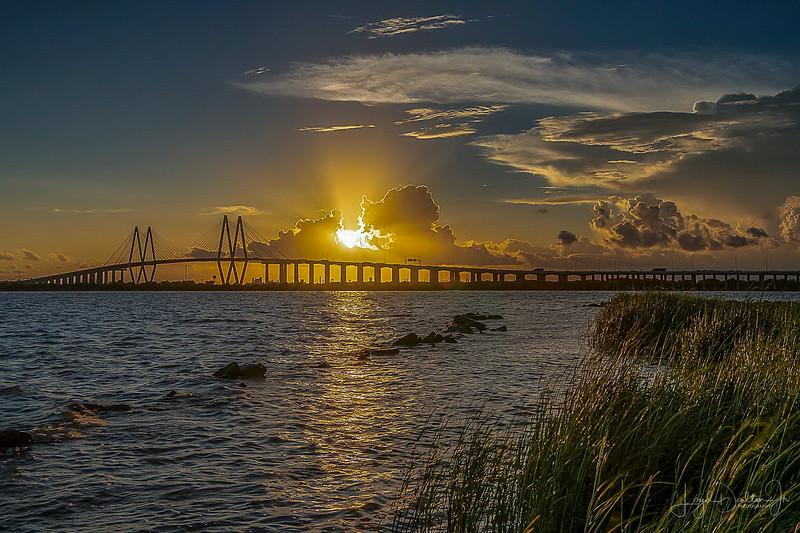 Sunset over the Fred Hartman Bridge, Baytown, Texas