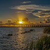 Sunset over the Fred Hartman Bridge, Baytown, Texas