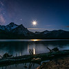 Moonscape over Mt McGown at Stanley Lake, Idaho