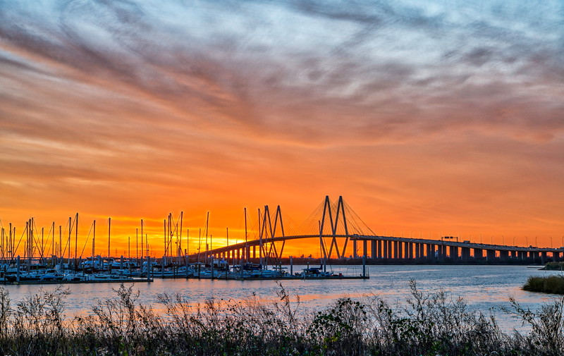 Sunset over the Fred Hartman Bridge