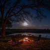 Full Moon over the Camp Fire - Independence, Texas