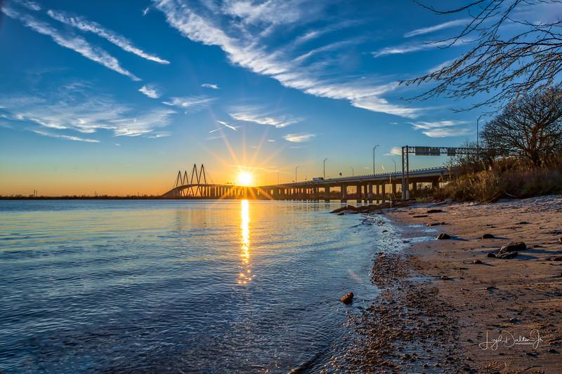 Sunset over the Fred Hartman Bridge