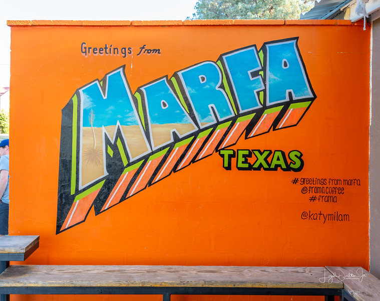 """During our trip to Big Bend, we stopped in Marfa for a few things and found this coffee shop next to the Tumbleweed Laundromat. """"If the coffee doesn't wake you up in the morning, the color of the sign will! """""""
