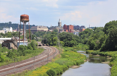 Connoquenessing and downtown Butler from the Hansen Ave bridge. Seb Foltz/Butler Eagle  Aug. 7 2020