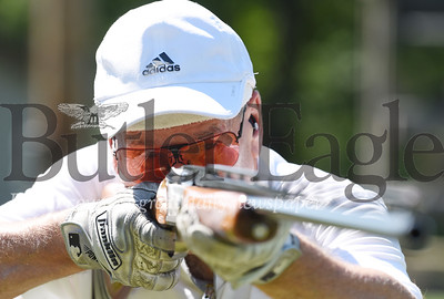 Harold Aughton/Butler Eagle: Barry Ewing of Butler takes aim at the Summit Township Sportsman Club during the Tuesday night Trapp Shoot, July 28, 2020.