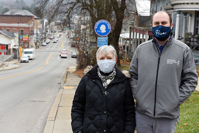 Evans City council member Diana Zoelle and Ben Levenger from Downtown Redevelopment Services. December 9, 2020. Harold Aughton/Butler Eagle.