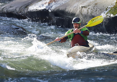 Local whitewater kayaker Matt Pascal of Pittsburgh paddles up stream on Slippery Rock Creek, below McConnells Mill, Friday. Seb Foltz/Butler Eagle 12/11/20